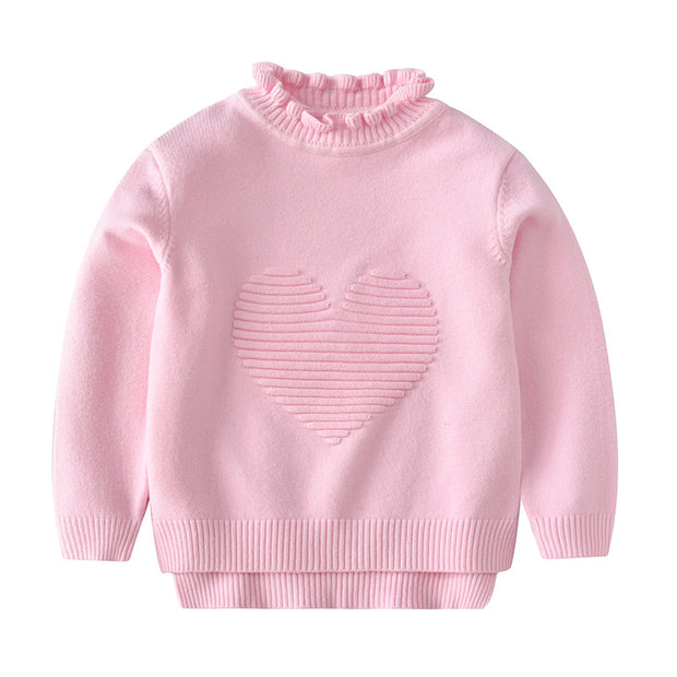 High Neck knitted sweater for Girls. Pink.