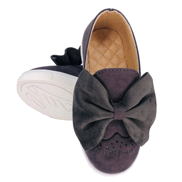 Girl's Suede Slip On Shoes with Bow detail. Grey.