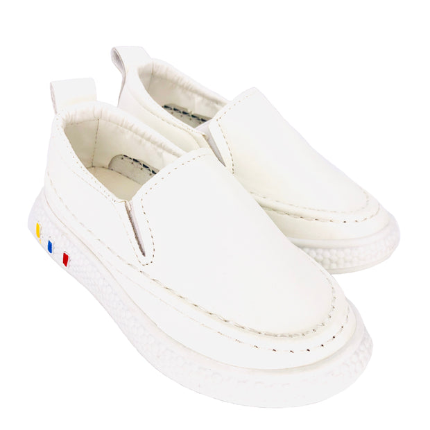 Unisex Faux Leather Slip On Summer Flats. White