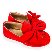 Girl's Suede Slip On Shoes with Bow detail. Red.