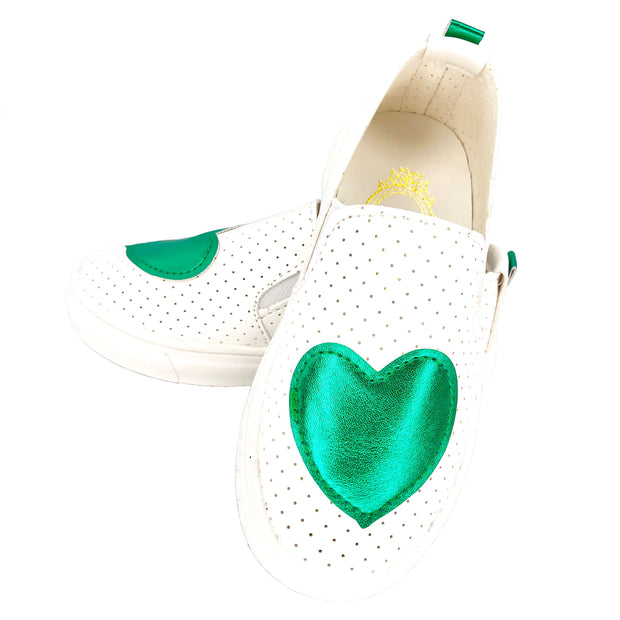 Girl's Summer Slip On Flats. Green