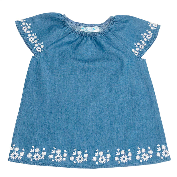 Baby Girl's Denim Chambray top with embroidery