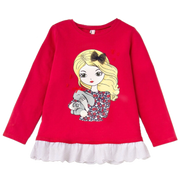 Girl's Long Sleeve Graphic Tee with ruffle detail