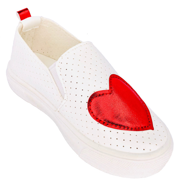 Girl's Summer Slip On Flats. Red