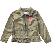 Girl's Denim Jacket. Olive Green.