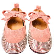 Girl's Suede Sandal with Rhinestone embellishment. Pink.