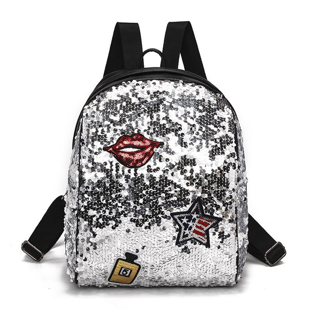 Girl's Flip Sequin Smaller School Backpack. Silver.