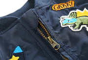 Cartoon embroidered Bomber Jacket for Boys. Teal.