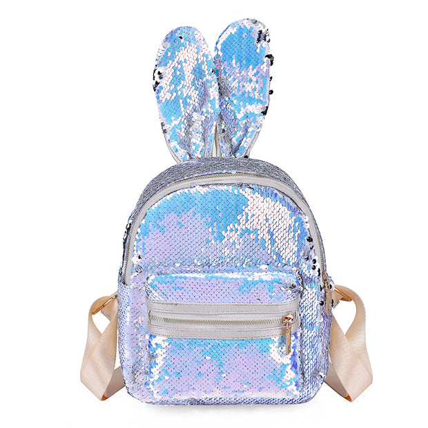 BunnyEars Flip Sequin Small School Backpack. White.