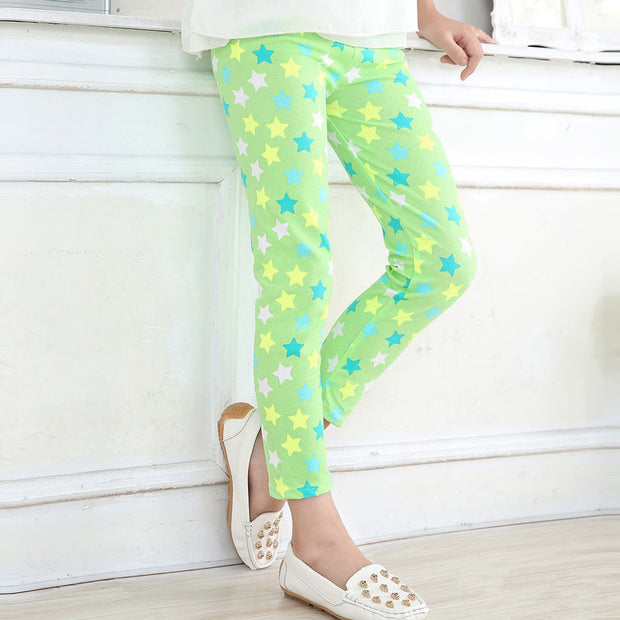 Girl Star Print Apple Green super soft Summer Leggings