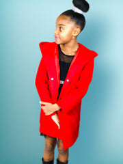Girls Woolen Trench Coat, with Princess line hoodie. Red