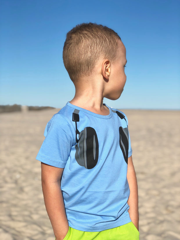 Boy Headset Graphic Tee. Blue.