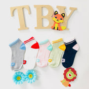 Boy Cotton ankle socks. Gray-Blue.
