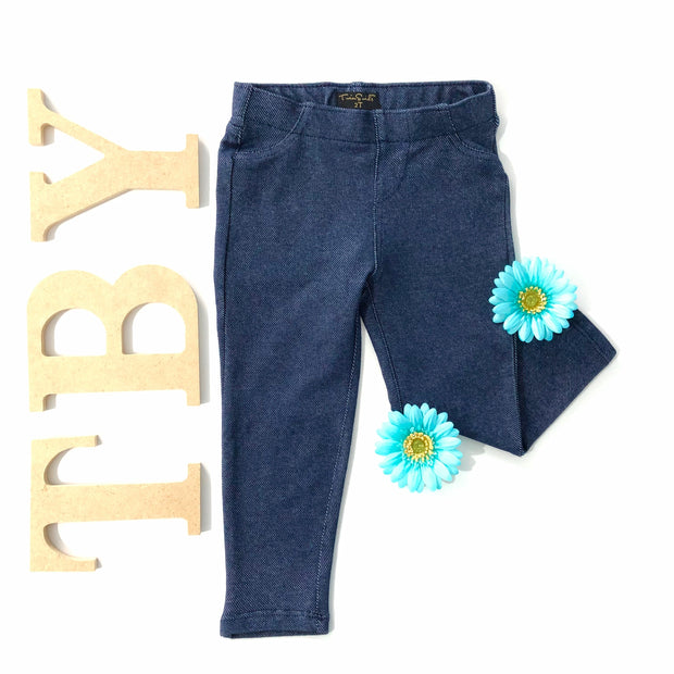 Girl's Denim Leggings. Dark wash