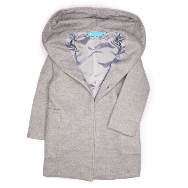 Girls Woolen Trench Coat, with Princess line hoodie. Grey.