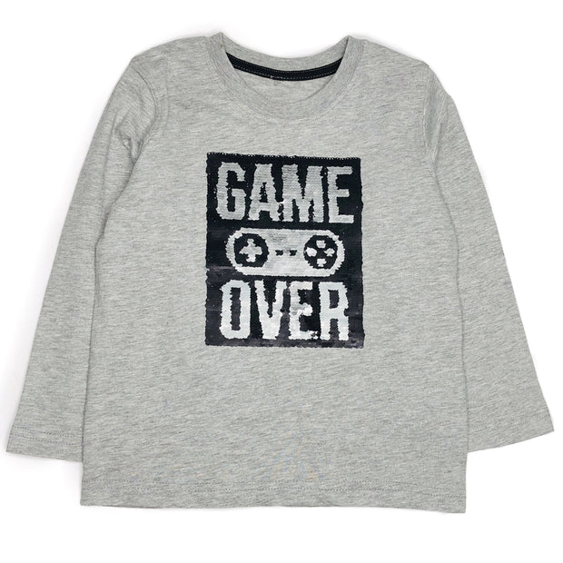 Boys Long Sleeve Flip Sequin Game ON/ Game Over Shirt