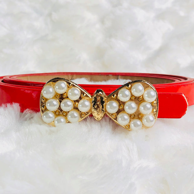 Girl's Pearl embellished bow detail belt. Red.