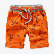 Boy's all over print Twill Shorts. Orange.
