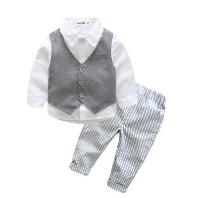Baby Boy's formal 3 PCS set. Dark Grey-Blue