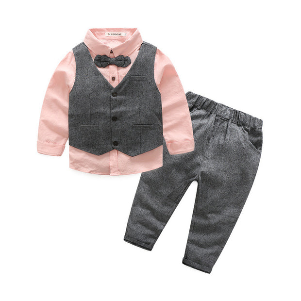 Boy's 4 PCS Elegant formal Outfit. Gray & White