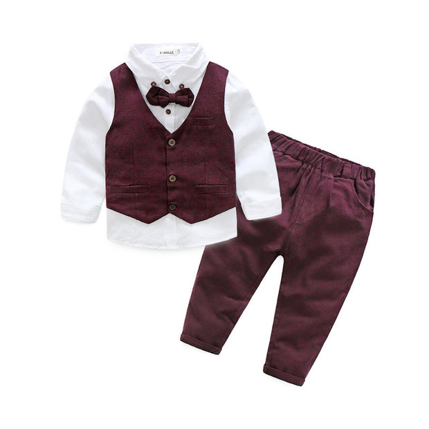 Boy's 4 PCS Elegant formal Outfit. Dark Red & White