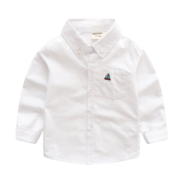 Boy's Boat embro button down shirt. White
