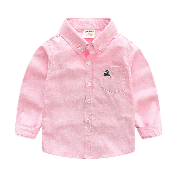 Boy's Boat embro button down shirt. Pink