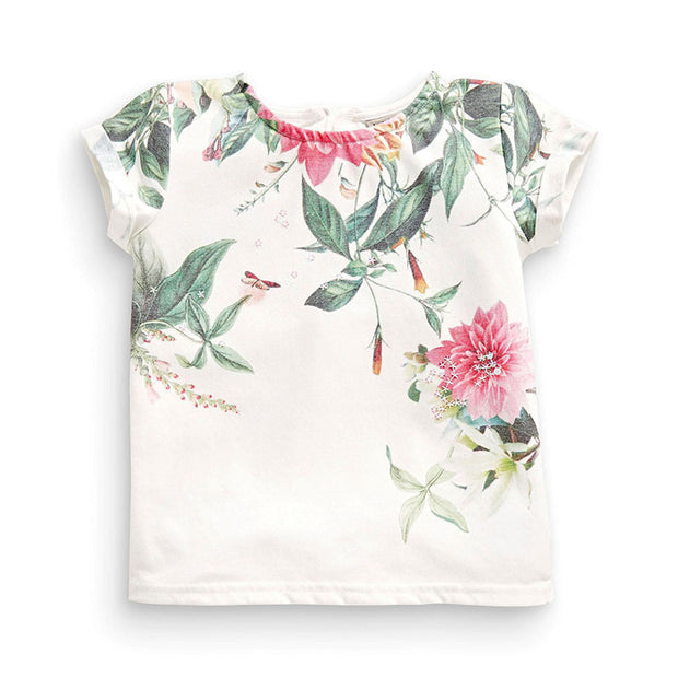 Girl's Floral Print Graphic Tee