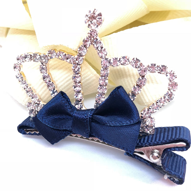 """True Princess"" - #4 Girl's Crown Rhinestone Hair Clip"