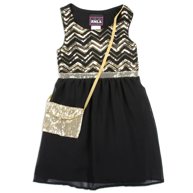 Elegant Me - Black & Gold Sequin Formal Dress.