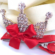 """True Princess"" - #3 Girl's Crown Rhinestone Hair Clip/ More colors available"