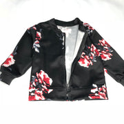 Flower print zipper jacket, Windbreaker (thin). Black.