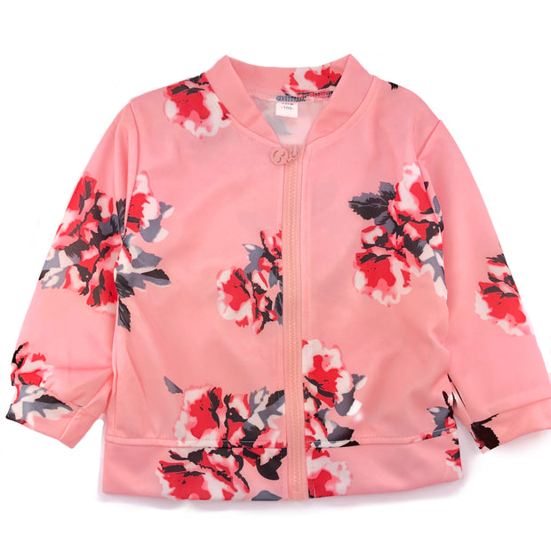 Flower print zipper jacket, Windbreaker (thin). Pink.