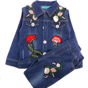 Girls  Distressed Denim 2 pcs set. Jacket and pants.