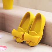 Girls Suede Ballerina Flat. Yellow.