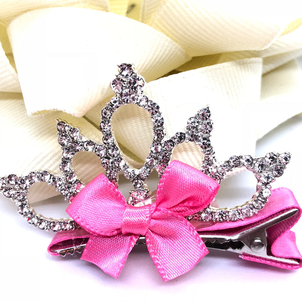"""True Princess"" - #2 Girl's Crown Rhinestone Hair clip/ More colors available"