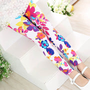 Girl Flower Print super soft Summer Leggings. White.