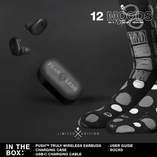 (Limited Edition 12 Moods Bundle) Skullcandy Push Truly Wireless Earbuds - Fearless Black With Socks