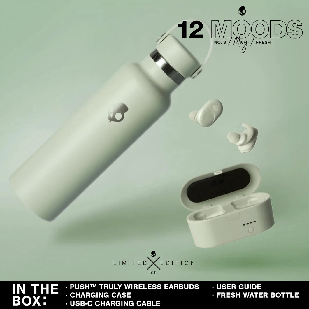 (Limited Edition 12 Moods Bundle) Skullcandy Push Truly Wireless Earbuds - Fresh Mint With Water Bottle