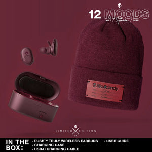 (Limited Edition 12 Moods Bundle) Skullcandy Push Truly Wireless Earbuds - Moab/Red With Beanie