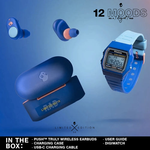(Limited Edition 12 Moods Bundle) Skullcandy Push Truly Wireless Earbuds - Rad Blue With Watch
