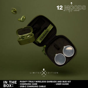 (Limited Edition 12 Moods Bundle) Skullcandy Push Truly Wireless Earbuds - Elevated Olive With Budbox