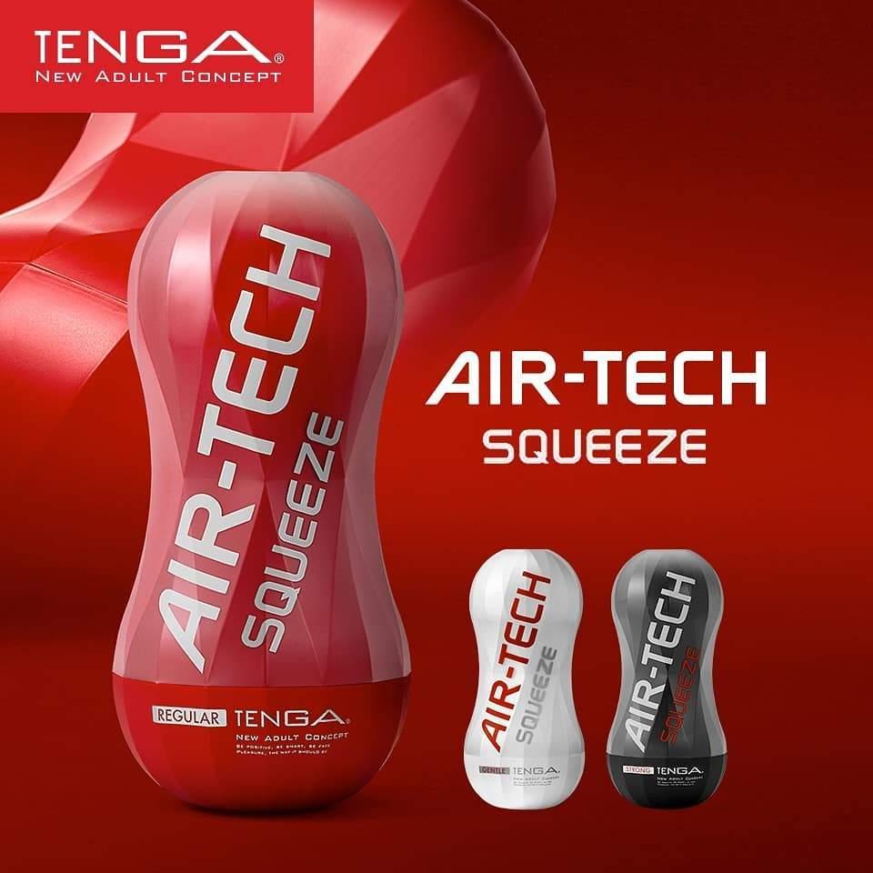 Tenga Air-Tech Squeeze Red Regular Masturbation Cup Sex Toy 擠壓 飛機杯 紅色 標準型 性玩具