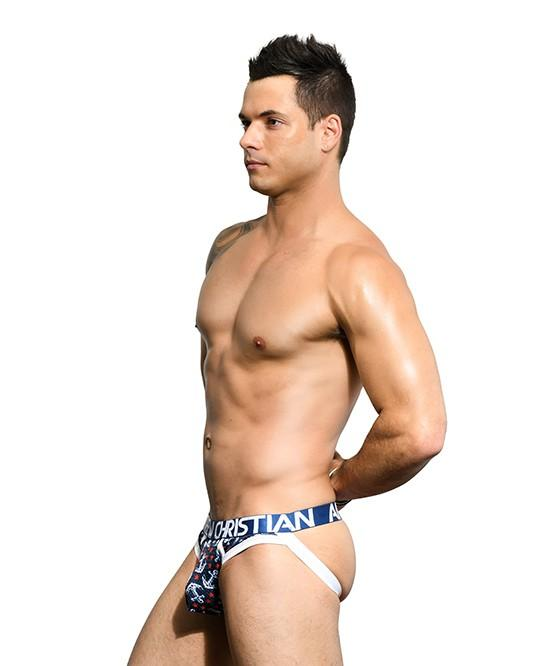 Andrew Christian Anchor Mesh Brief Jock Men's Underwear Navy 男士 網布 後空 底褲 深藍色