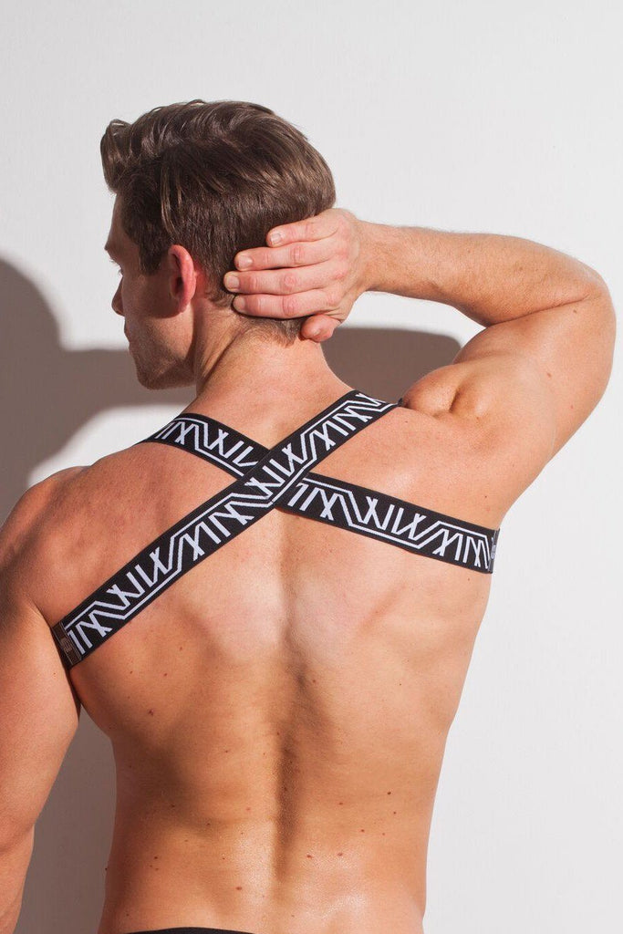 Marco Marco Logo Elastic Harness Black White Mens 男士 圖案 胸背帶 黑白色