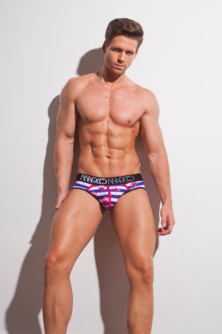 Marco Marco Nautical Brief Mens Blue Pink Stripe Underwear 男士 三角 底褲 簡條 藍色 粉紅色