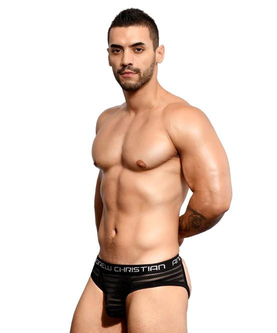 Andrew Christian Seductive Net Stripe Frame Jock Men's Underwear Black 男士 網布 後空 底褲 黑色