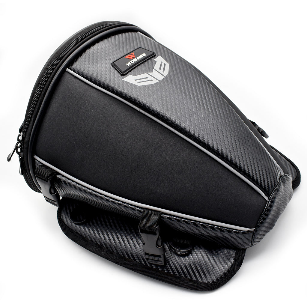 WOSAWE Motorcycle Tail Bag PU Leather Water Resistance Sports Motorbike Seat Bag