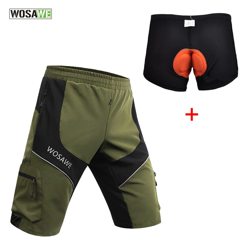 WOSAWE Men Mountain Loose-Fit Cycling MTB Shorts Plus Padded Underwear Black, Army Green