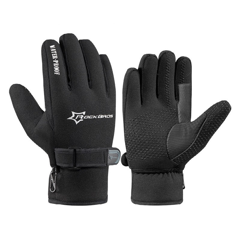 RockBros Winter Cycling Gloves Fleece Ultra-thick Silica Gel Anti-slip Anti-shock Bike Gloves